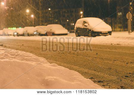 Snowfall In City, Snowbound Parking