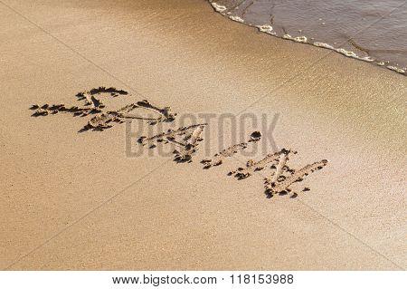 Inscription Spain On The Sand Beach