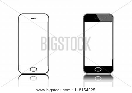 Smart Phone Isolated Vector Illustration Black And White With Blank Screen