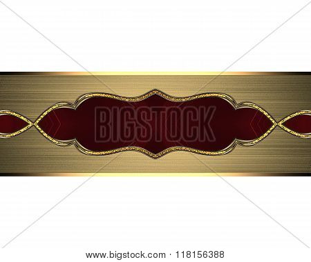 Gold Plate With A Red Pattern. Element For Design. Template For Design. Copy Space For Ad Brochure O