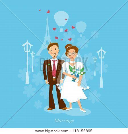 Lovers In Paris: Wedding Bride And Groom Vector Illustration