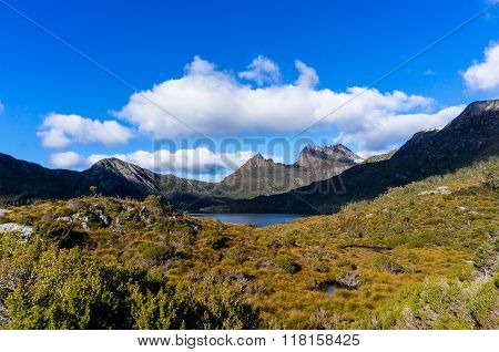 Beautiful mountain landscape. Cradle Mountain and Dove Lake Tasmania in Cradle Mountain Lake St Clair National Park Australia