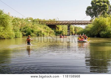 Rafting On The Jordan River In Israel