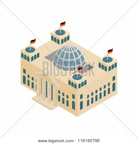 German Reichstag building isometric 3d icon