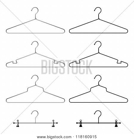 Set Of Steel Metallic Clothes Hangers. Realistic And Black Silhouette. Vector
