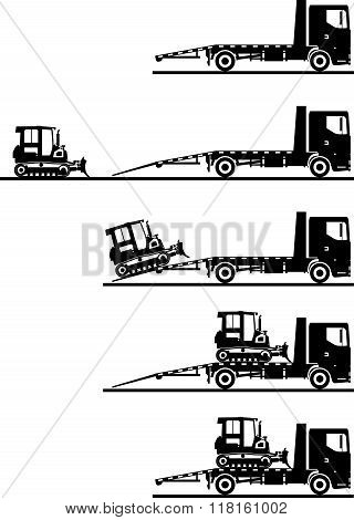 Set of silhouettes auto transporter and dozer isolated on white background in different positions. V