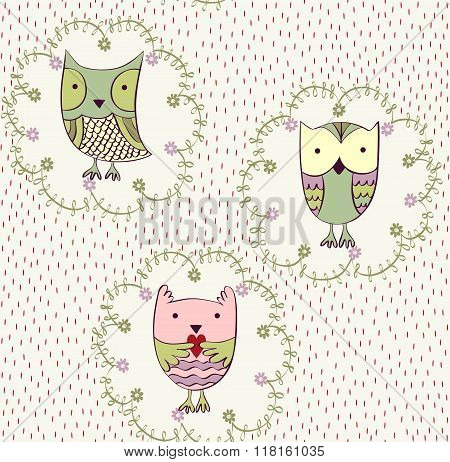 Vector cartoon owls
