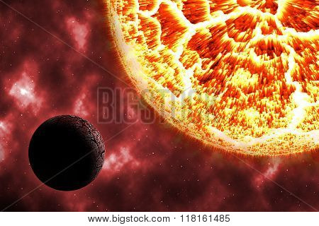 Solar Burn Dead Planet On Cosmos With Red Nebular