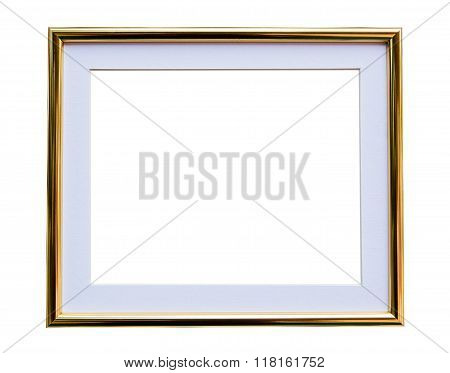 vintage frame. Elegant vintage gold/gilded picture frame with beading. Isolated on white.
