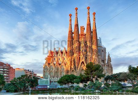 Barcelona, Spain - February 10: La Sagrada Familia - The Impressive Cathedral Designed By Gaudi, Whi
