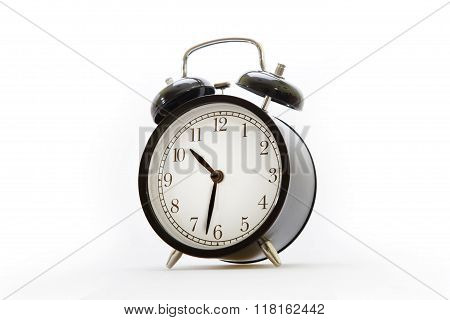 Alarm Clock In Retro Style On The White Background