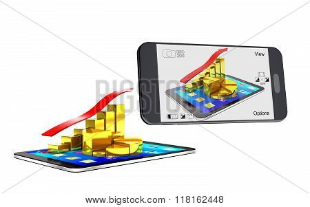 Smartphone Photographing The Tablet And A Chart Of The Gold Bars.