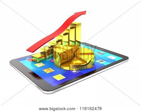 Tablet Pc And Diagram Of Golden Bars And Red Arrow.