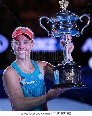 Grand Slam champion Angelique Kerber of Germany holding Australian Open trophy