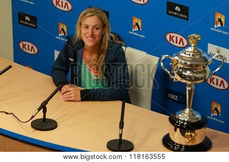 Grand Slam champion Angelique Kerber of Germany during press conference after victory