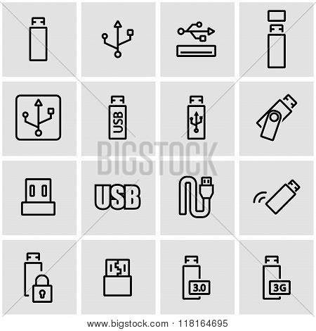 Vector Line Usb Icon Set