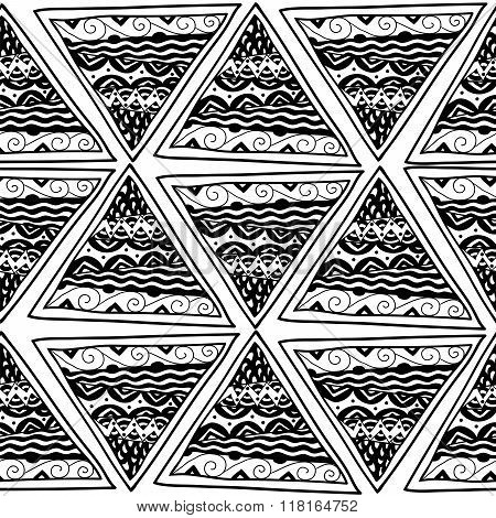 Seamless pattern with black and white ethnic triangles
