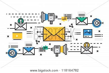Flat line design vector illustration concept of E-mail marketing, Online marketing, Internet marketi