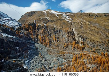 Autumn view of Swiss Alps, Canton of Valais,Switzerland