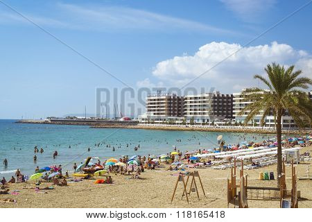 Beach Playa Del Postiguet Near The Castle Santa Barbara, Alicante, Spain