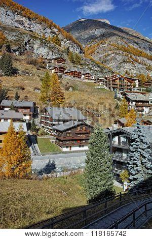 Landscape of Zermatt Resort, Canton of Valais, Switzerland