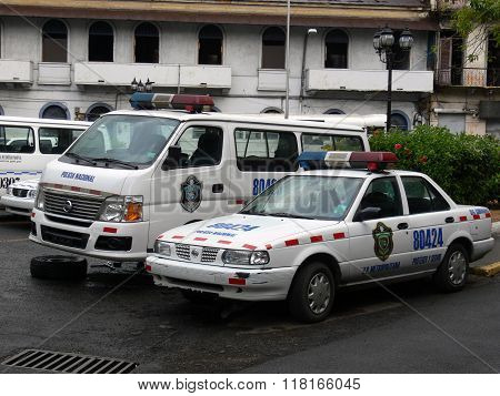Broken Police Car In Panama