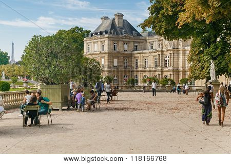 Paris, France- Circa September, 2014. A View Of A Jardin Du Luxembourg (luxembourg Garden) In Paris,