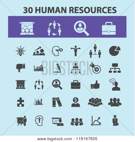 human resources icons, human resources concept, business human resources , management icons
