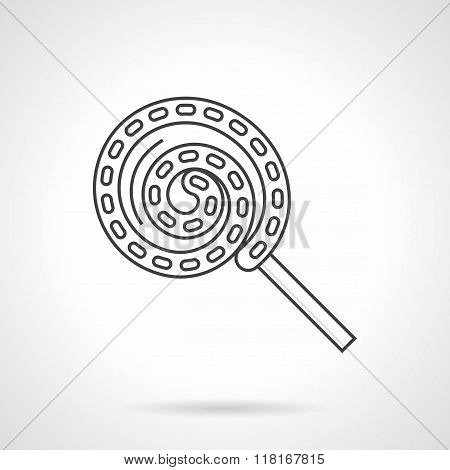 Flat line twisted lollipop vector icon
