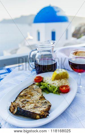 Greek cuisine - grilled swordfish, a dish
