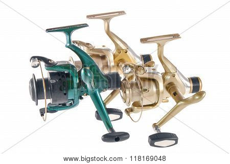Isolated Object On A White Background Fishing Reels