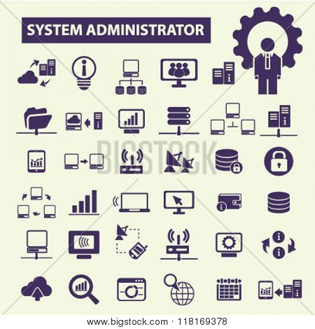 system administrator, computer network, connection, database, technology icons