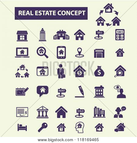 real estate icons, realty concept, real estate agent, real estate agency, real estate logo, buildings icons