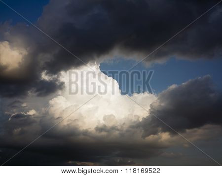 Dark And White Clouds And Blue Sky