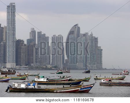 Panama Skyline Pacific Ocean Boats