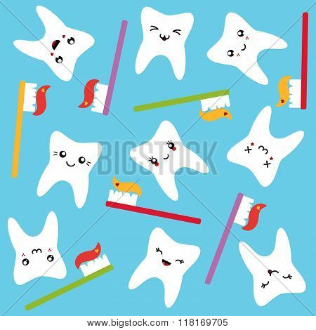 Teeth funny pattern with toothbrushes