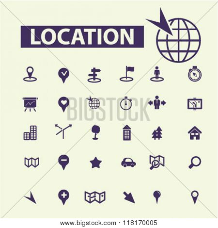 location concept, location icons, map icons, map direction, route icons