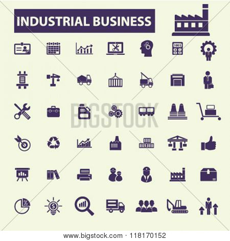 Industrial business signs, factory logo, industry icons, meeting, logistics, manufacturing concept, industrial plant, engineering icons, business concept icons