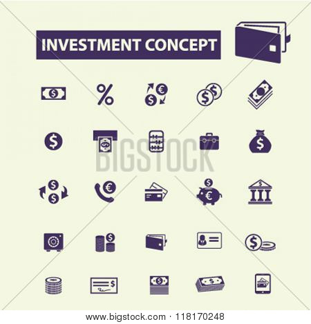 investment concept, bank logo, trading icon, investment icons, finance, money investment, check icons
