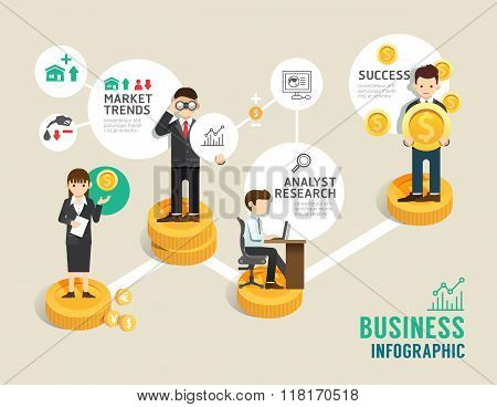 Business Stock Market Board Game Flat Line Icons Concept Infographic Step To Successful,vector Illus