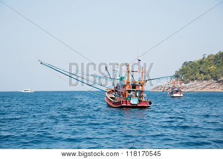 Small fishing trawler off the island in the Andaman Sea, Thailand