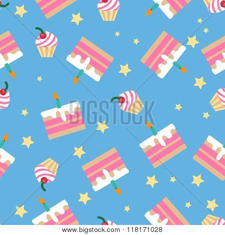 Happy Birthday Seamless Pattern With Cakes For Children Party