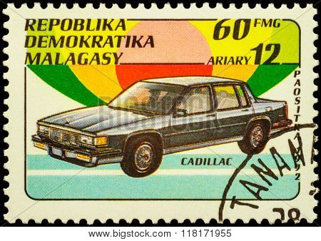 Car Cadillac On Postage Stamp