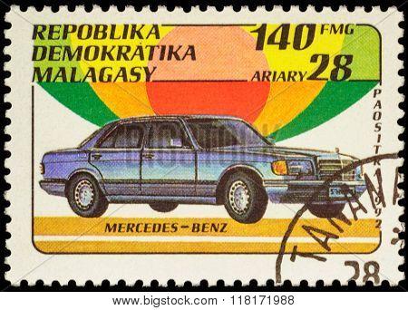 Car Mercedes-benz On Postage Stamp