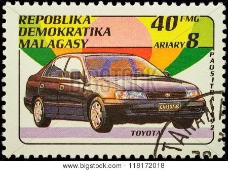Car Toyota Carina On Postage Stamp