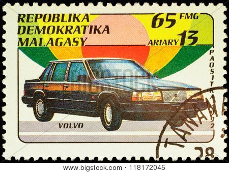 Car Volvo On Postage Stamp