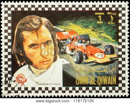 Emerson Fittipaldi - Brazilian Racing Driver On Postage Stamp