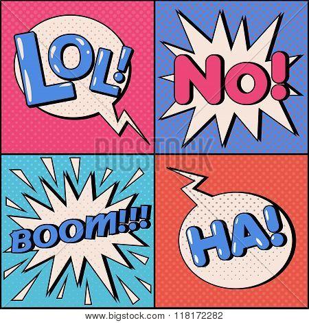 Set Of Comics Bubbles In Pop Art Style. Expressions Lol, No, Ha, Boom