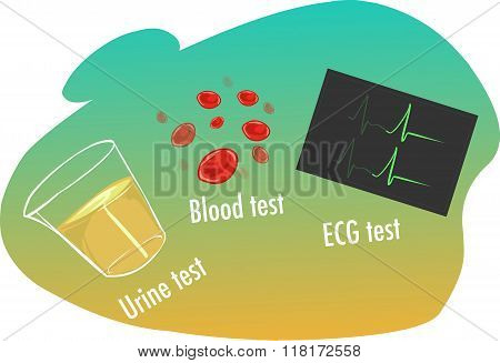 Vector Illustration Of A  High Blood Pressure Tests