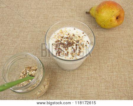 Muesli-Drink with flax seeds